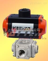 氣動四通不銹鋼螺紋球閥大量供應、品質保證