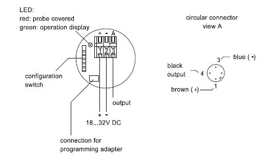 操作电压:18…35vdc 不带开关负载最大45ma 输出信号&