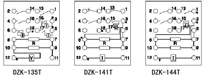 dzk-100t系列快速中间继电器内部接线图